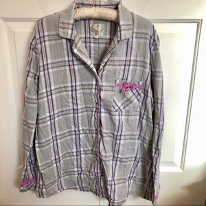 Victoria's secret button up plaid pajama shirt